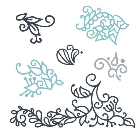 Swirly skandinaviska julgranskrull isolerad på vit bakgrund. Vektor blomning vintage för hälsningskort. Samling av filigran ram designelement dekoration illustration