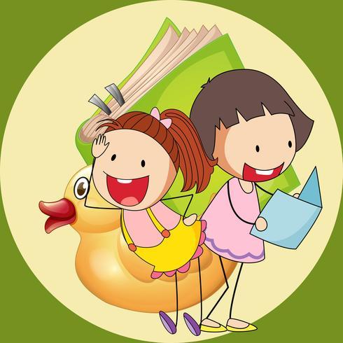Två söta tjejer läser bok vektor