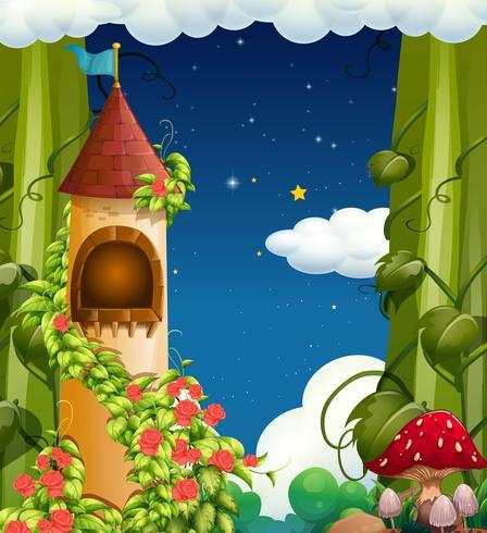 Ein Märchenschloss? bei Nachtaufnahme vektor