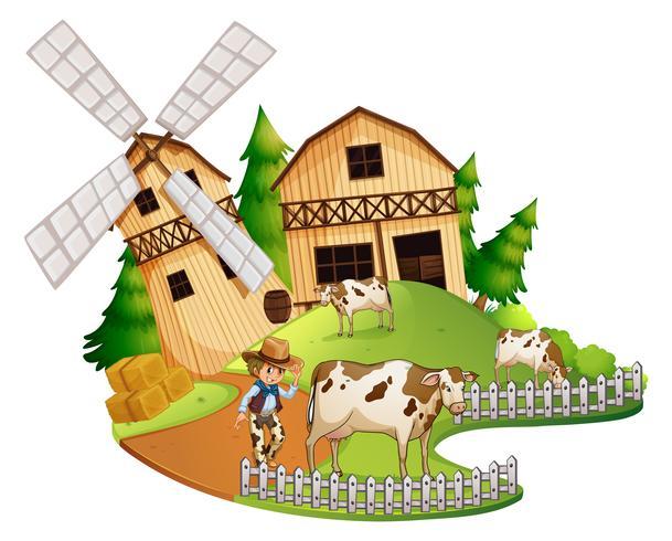 Bonde och kor på gården vektor