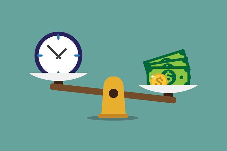 Tiden är pengar skala vektor