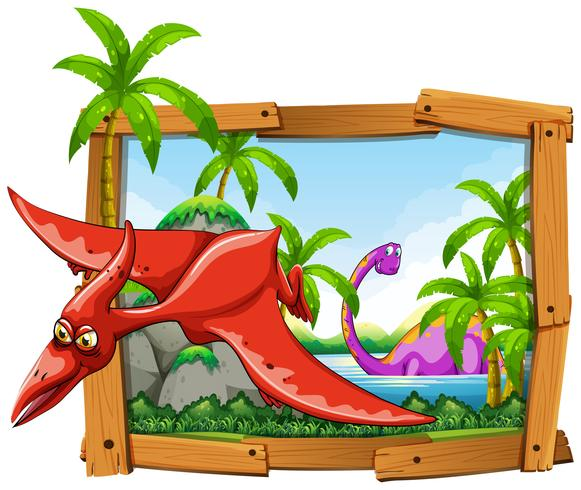 Dinosaurier im Holzrahmen vektor