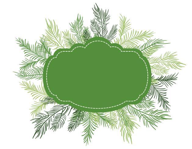 Grüner Vektorillustration Weihnachtsrahmenhintergrund mit Tannenbaumniederlassungen vektor