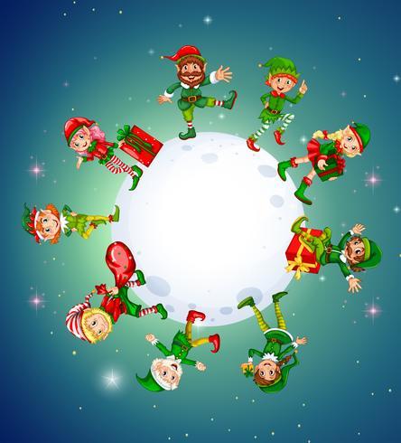 Jultema med älvor runt månen vektor