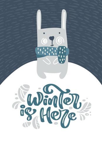 Hälsningskort med julfinnig hare eller kanin. Vinter är här kalligrafi bokstäver text i skandinavisk stil. Vektor illustration