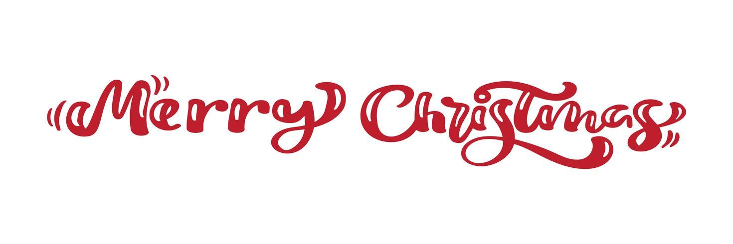 Kalligraphie-Beschriftungs-Vektortext der frohen Weihnachten roter. Für Kunstvorlagenentwurfslistenseite, Modellbroschürenart, Fahnenideenabdeckung, Broschürendruckflieger, Plakat vektor