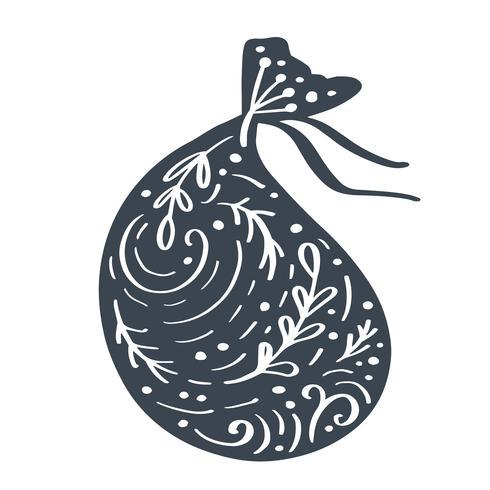 Handdraw skandinavisk jul presentbag vektor ikon silhuett med blom prydnad. Enkel present kontur symbol. Isolerat på vit webbskylt kit av stiliserad gran bild