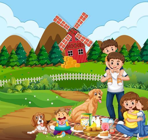 Familj picknick på landsbygden vektor