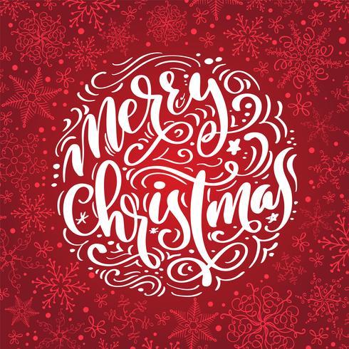 Frohe Weihnacht-Kalligraphievektortext. Briefgestaltung auf rotem Hintergrund. Kreative Typografie für Holiday Greeting Gift Poster. Schriftstil Banner vektor