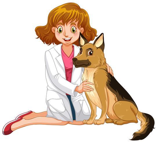 Tierarzt und kleiner Hund vektor