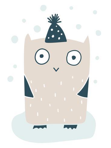 Söt vektor liten uggla i wintercap. Handdrawn doodle skiss illustration i skandinavisk stil