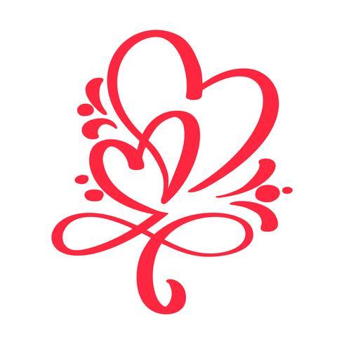 Två röda älskare hjärta. Handgjord vektor kalligrafi. Inredning för gratulationskort för Alla hjärtans dag, mugg, fotoöverdrag, t-shirt, flygblad, affischdesign