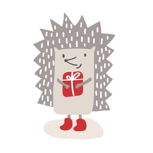Hedgehog baby söt print. enkel skandinavisk barndesign. Söt djur vektor. Cool illustration för barnkammar-t-shirt, barnkläder, inbjudan vektor