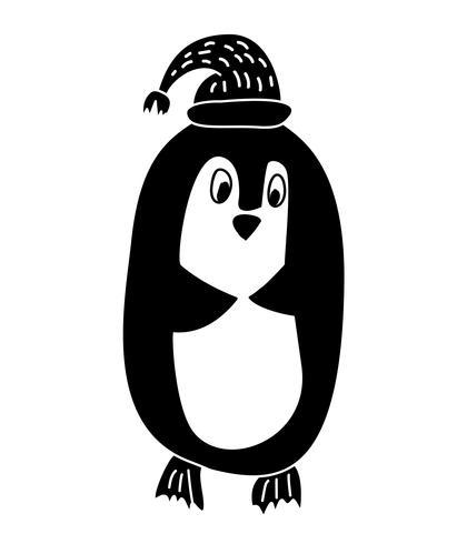 Hand rita Vektor illustration av rolig pingvin i stickad hatt. Jul isolerade hälsningskort skandinavisk stil