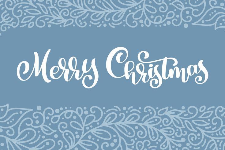 Weißer Vektorweinlesetext der frohen Weihnachten. Kalligraphische Briefgestaltung Kartenvorlage. Kreative Typografie für Holiday Greeting Gift Poster. Kalligraphie-Schriftstil Banner vektor