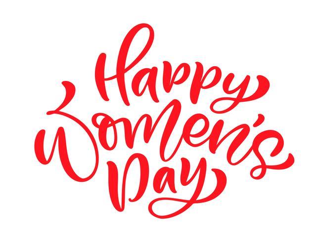 Rosa kalligrafi fras Glad kvinna dag. Vektor Hand Ritad bokstäver. Isolerad kvinna illustration. För Holiday Sketch Doodle Design-kort