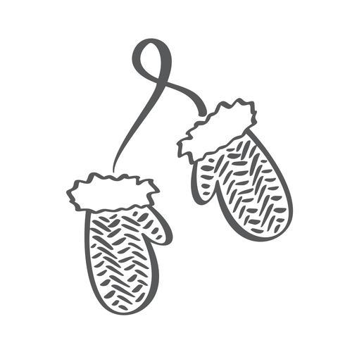 Vinter skandinaviska konturvanter vektorikonen. Brush Line illustration. Barnhandskar. Kontur symbol. Vektor isolerad skissritning