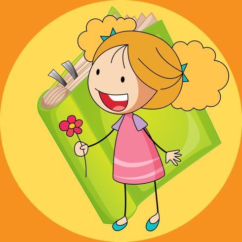 Söt tjej som håller blomma vektor