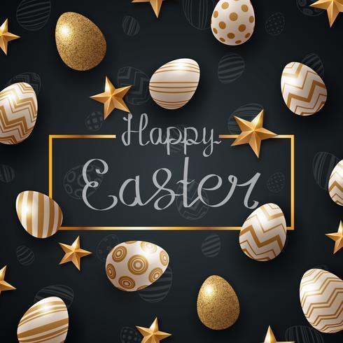 Fröhliche Ostern vorzeit. Ei und Stern. vektor