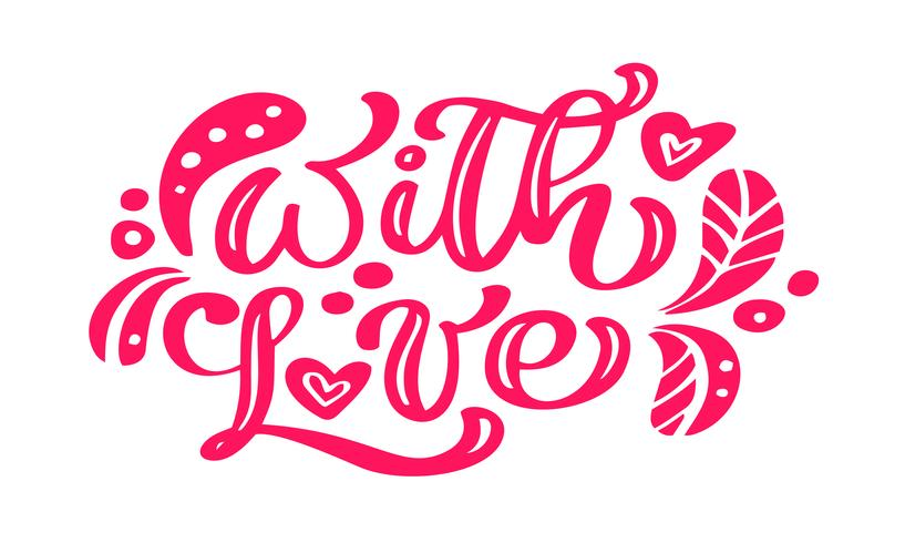 Mit roten Kalligraphie der Liebe, die Weinlesevektortext mit skandinavischen Elementen beschriftet. Zum Valentinstag. Isoliert auf weißem hintergrund. Für Kunstvorlagen-Designlistenseite, Broschüre vektor