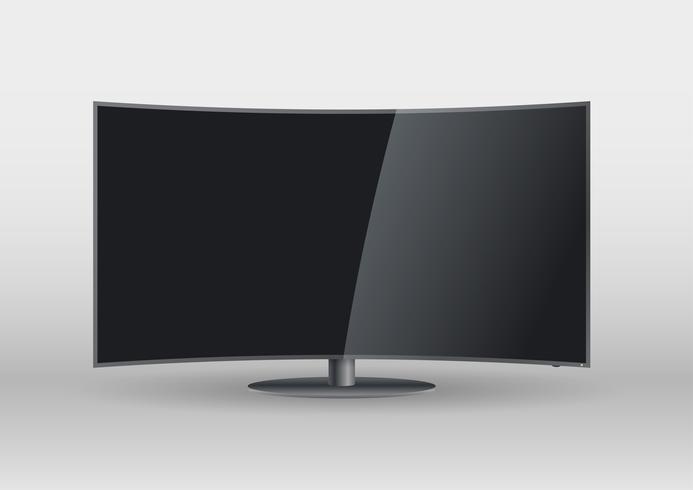 Gebogener schwarzer leerer Bildschirm Smart TV vektor