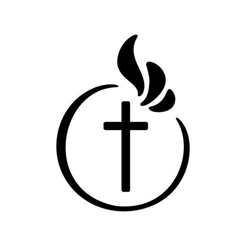 Vektorabbildung des christlichen Zeichens. Emblem mit Konzept des Kreuzes mit religiösem Gemeinschaftsleben. Gestaltungselement für Poster, Logo, Abzeichen, Zeichen vektor