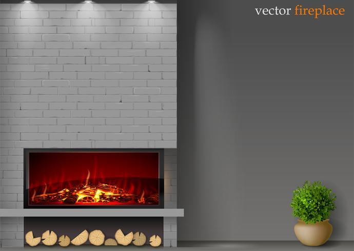 Modern eldstad med eld vektor