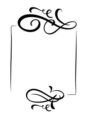 Dekorativa handgjorda vintage vektor ram och gränsar. Design kalligrafi illustration för bok, gratulationskort, bröllop, tryck