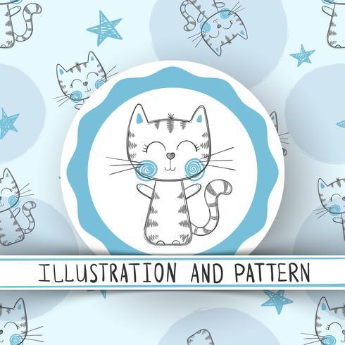 Nette Katze - nahtloses Muster der Karikatur vektor