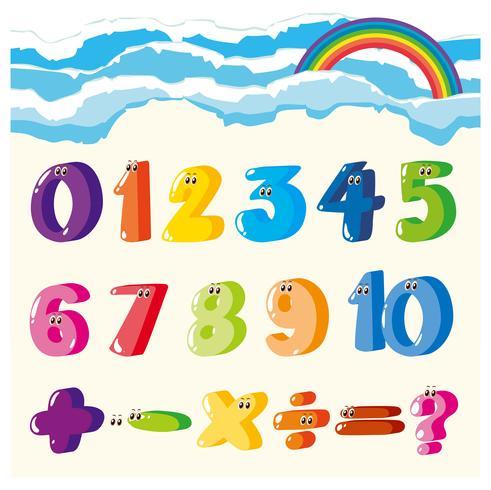Teckensnittsdesign för siffror och tecken i många färger vektor
