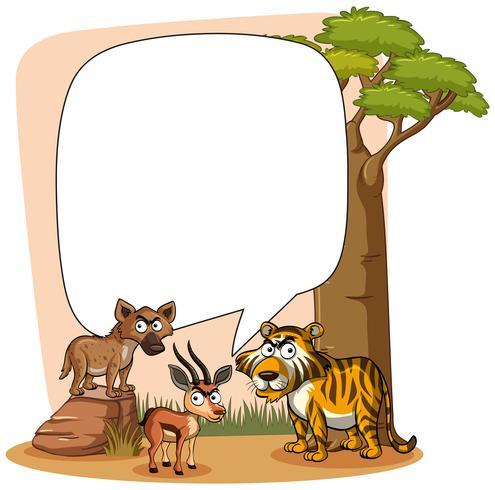Rahmenvorlage mit wilden Tieren vektor