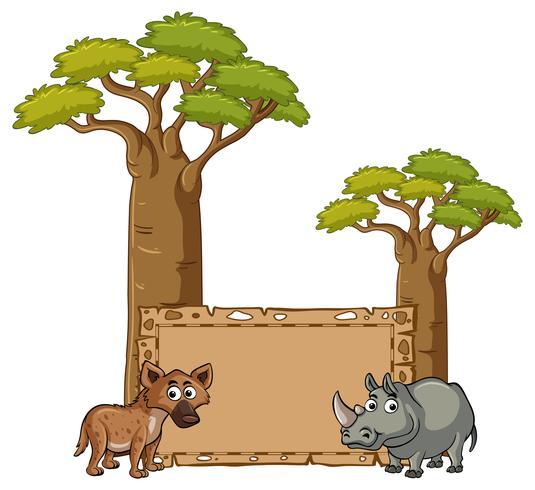 Banner-Vorlage mit Hyäne und Nashorn vektor
