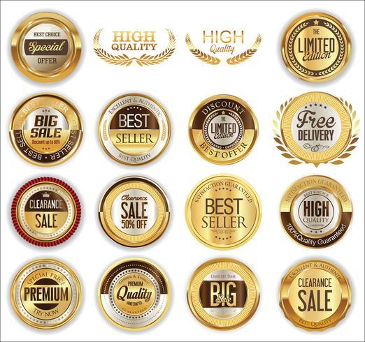 Goldene Premium-Abzeichen und Etiketten vektor
