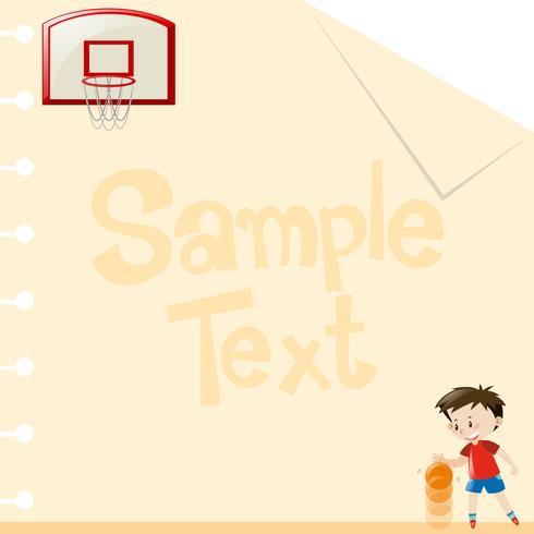 Papierdesign mit dem Jungen, der Basketball spielt vektor
