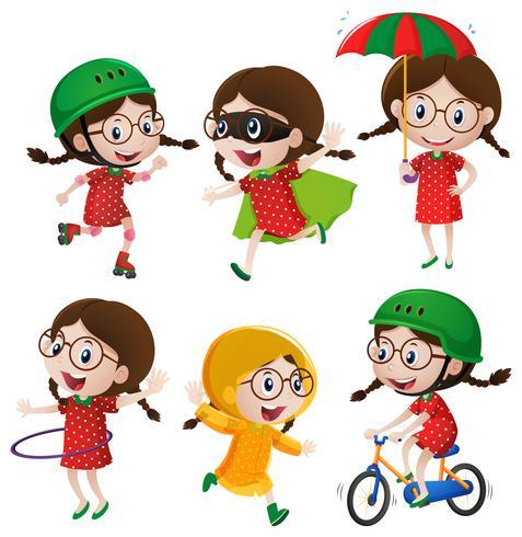 Mädchen macht sechs verschiedene Aktivitäten vektor