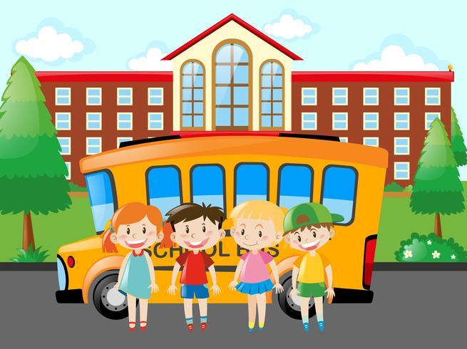Vier Schüler stehen in der Schule vektor