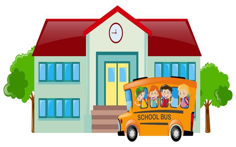 Schulszene mit Studenten im Bus vektor