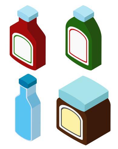 3D-Design für verschiedene Flaschen vektor