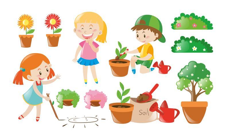 Junge und Mädchen, die Gartenarbeit erledigen vektor