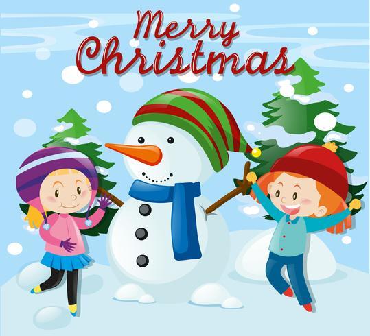 Weihnachtsthema mit Mädchen und Schneemann vektor