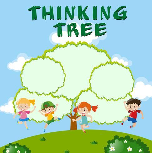 Umweltthema mit denkendem Baum vektor