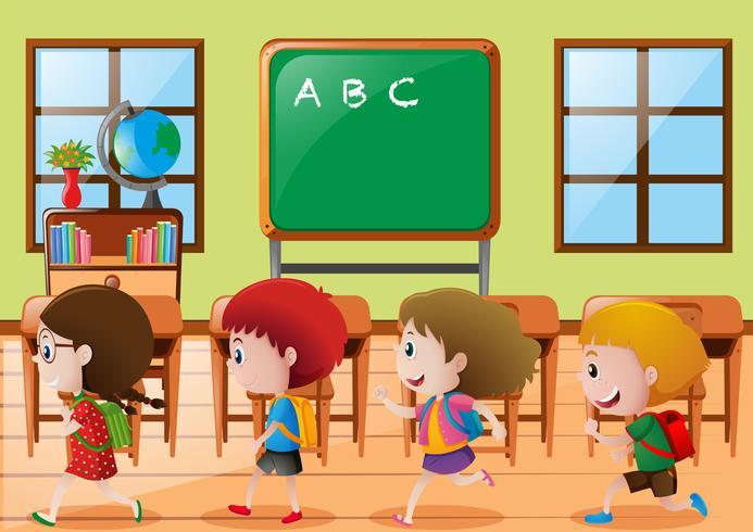 Barn som går i klassrummet vektor