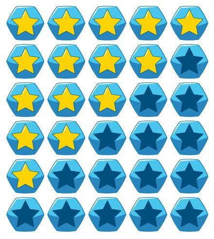 Aufkleberdesign für gelbe Sterne auf blauem Sechseck vektor