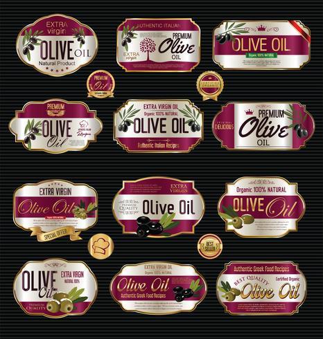 Retro Weinlesehintergrundsammlung des Olivenöls vektor