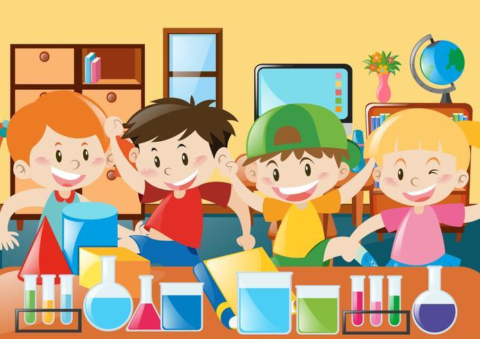 Studenter studerar i klassrummet vektor