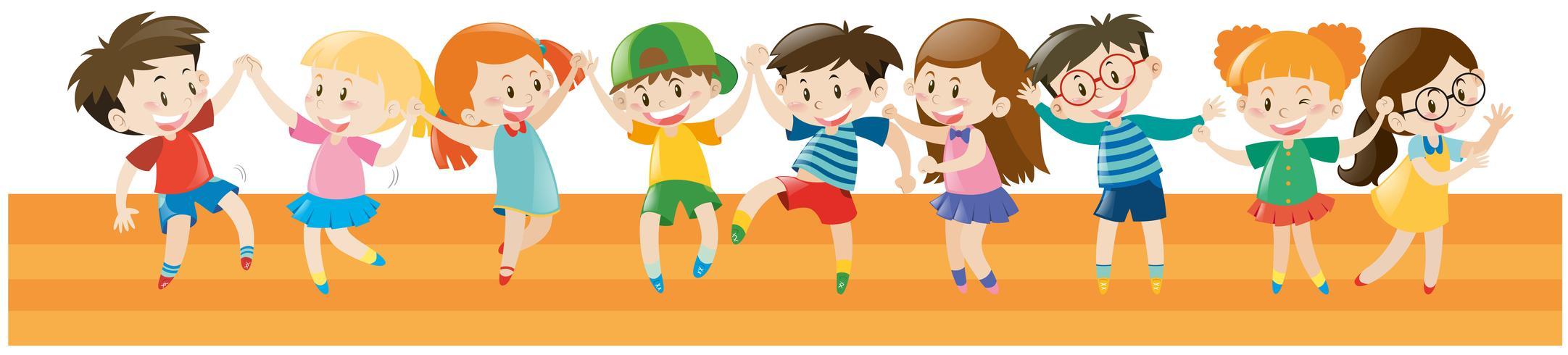 Jungen und Mädchen tanzen zusammen vektor