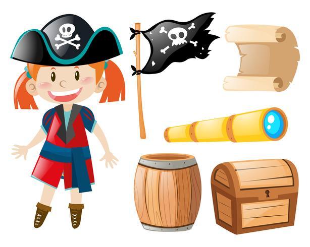 Mädchen in Piratenkostüm und Piratenelementen vektor