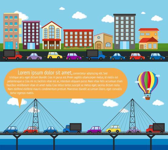 Inforgraphic Stadtszene mit Straßen vektor