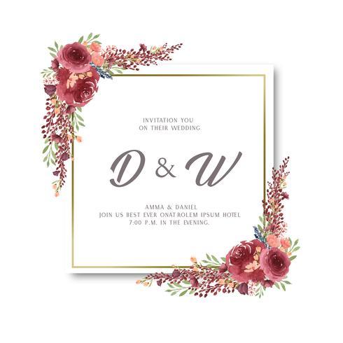 Akvarellfloraler med textramar gräns, frodiga blommor vattenfärgad handmålad isolerad på vit bakgrund. Design blommor dekor för kort, spara datum, bröllop inbjudningskort, affisch, banner. vektor