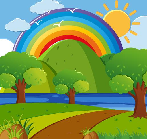 Hintergrundszene mit Regenbogen über dem Park vektor